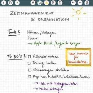 Notizen mit der App Penulimate am EDU-iPad