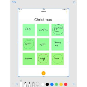 Weihnachtsbingo am edu-iPad mit Post-it Plus